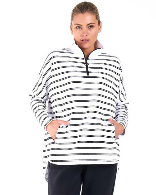 Adele Sweat - White/Black Stripe