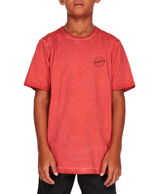 Boys Wave Wash Eight Six Tee- Washed Red