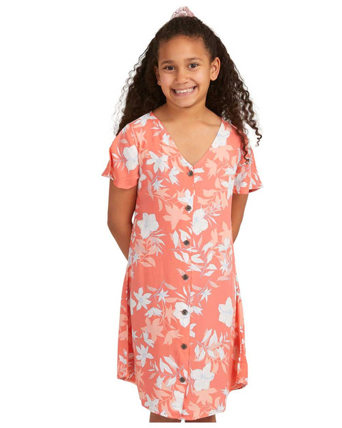Little Light Girls Dress - Shell Pink Sunburst Floral