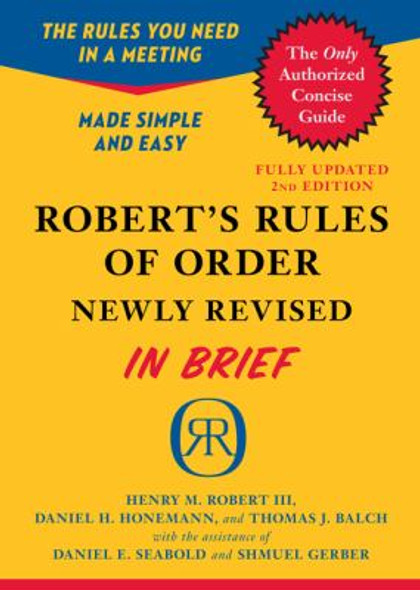 Robert's Rules of Order Newly Revised in Brief, 2nd Edition Cover