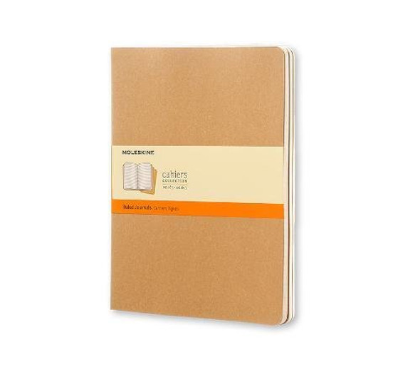 Set of 3 Ruled Cahier Journals - Kraft Brown - Extra Large Cover