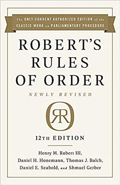 Robert's Rules of Order Newly Revised, 12th Edition Cover