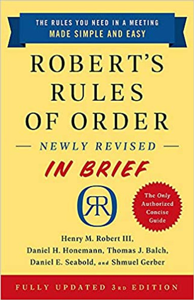 Robert's Rules of Order Newly Revised in Brief, 3rd Edition Cover
