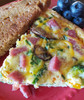 Chopped Gottenburg frittata with veggies and toast.