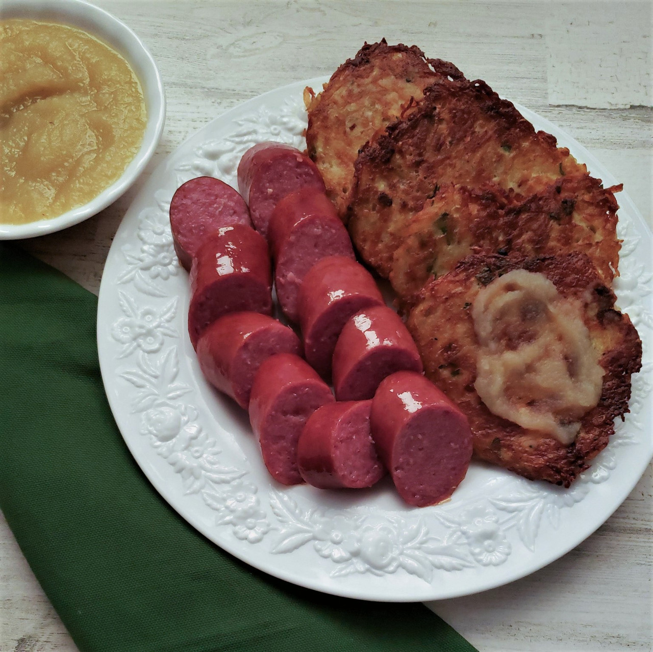 Luxemburg Sausage with Gromperekichelcher (Potato Pancakes)