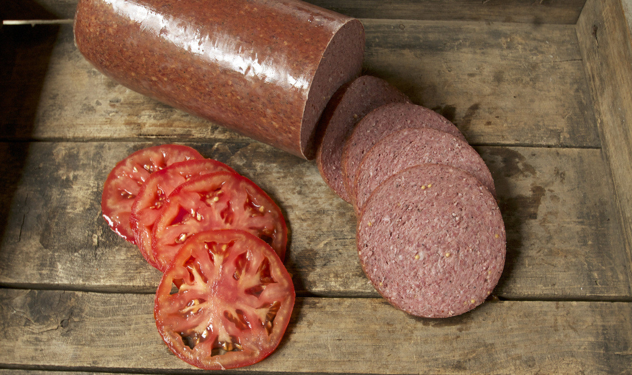 Jim's Blue Ribbon slicing summer sausage is perfect for sandwiches or party platters