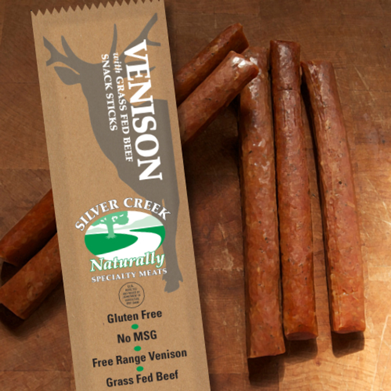 1.2 oz Packages of our All Natural Venison w/ Beef Snack Stick