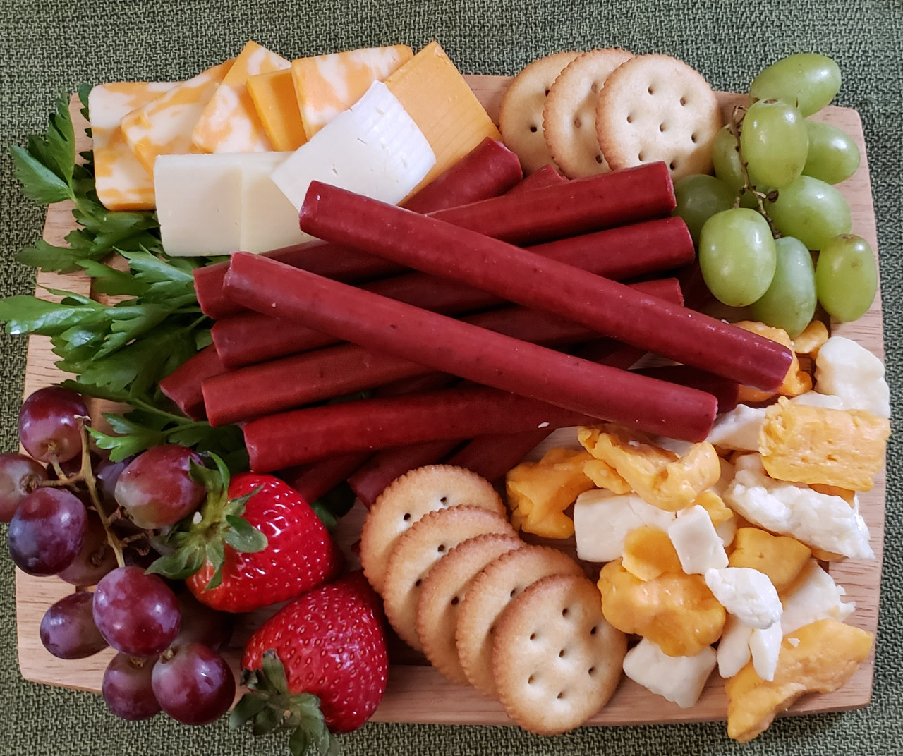 Venison, cheese, and crackers - very Wisconsin!