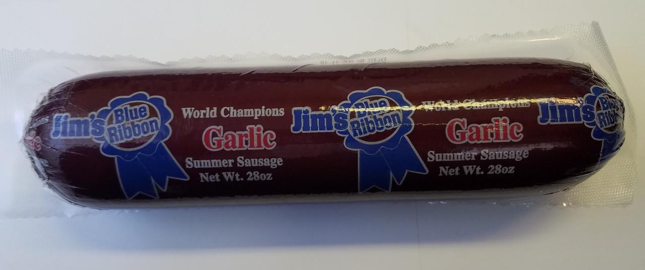 Award winning Jim's Blue Ribbon Garlic Summer Sausage in 28 oz size.