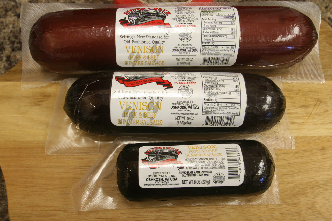 Silver Creek Venison Summer Sausage available in 8 oz, 1 lbs. & 2 lbs.