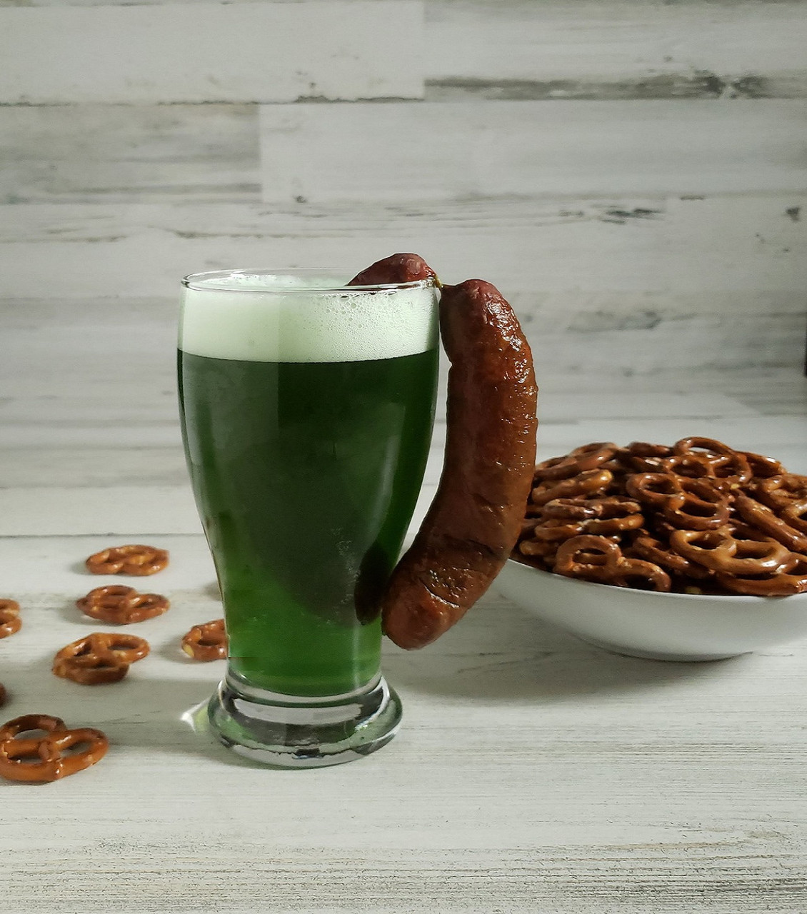 Celebrate St. Patty's Day with a green beer and Landjaeger combo.