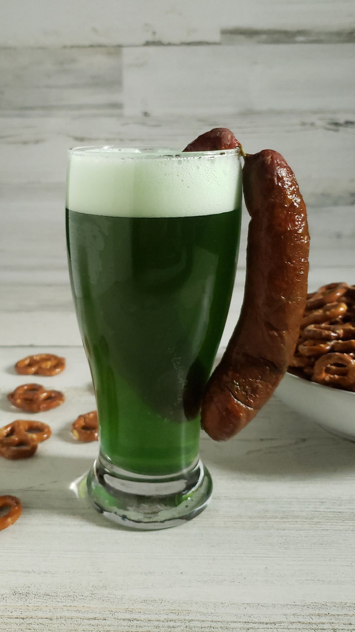 Celebrate St. Patty's day with a green beer and Landjaeger combo