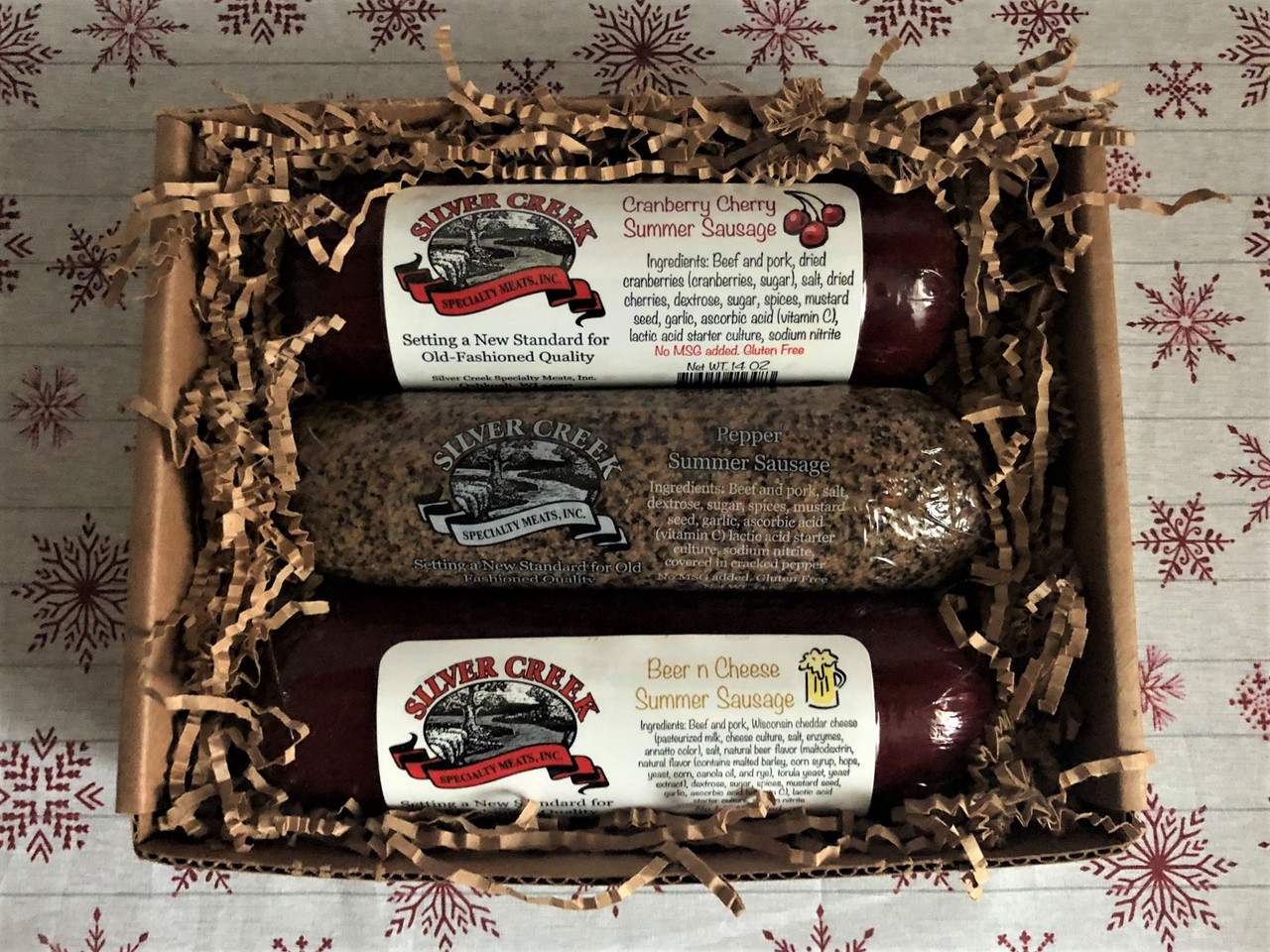 Silver Creek Specialty Summer Sausage Sampler Cranberry Cherry ~ Cracked Black Pepper ~ Beer N Cheese all in a 14 oz size