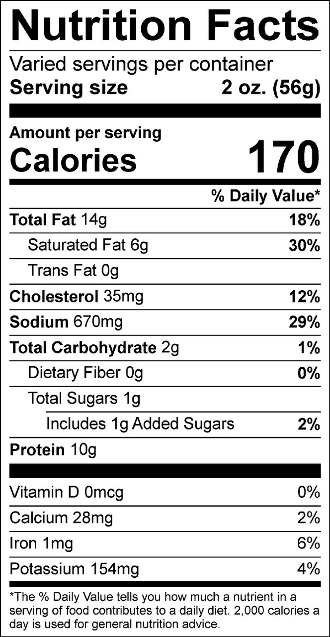 Nutrition Facts for Beer N Cheese Summer Sausage