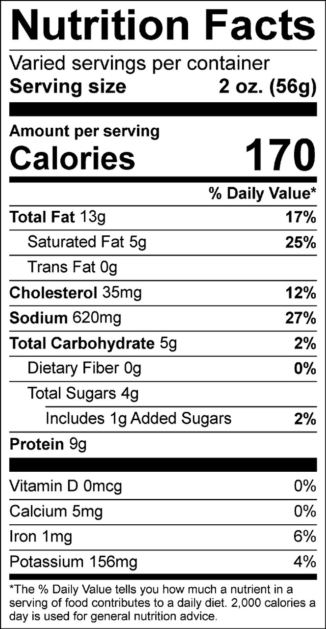 Nutrition Facts for Cranberry Cherry Summer Sausage