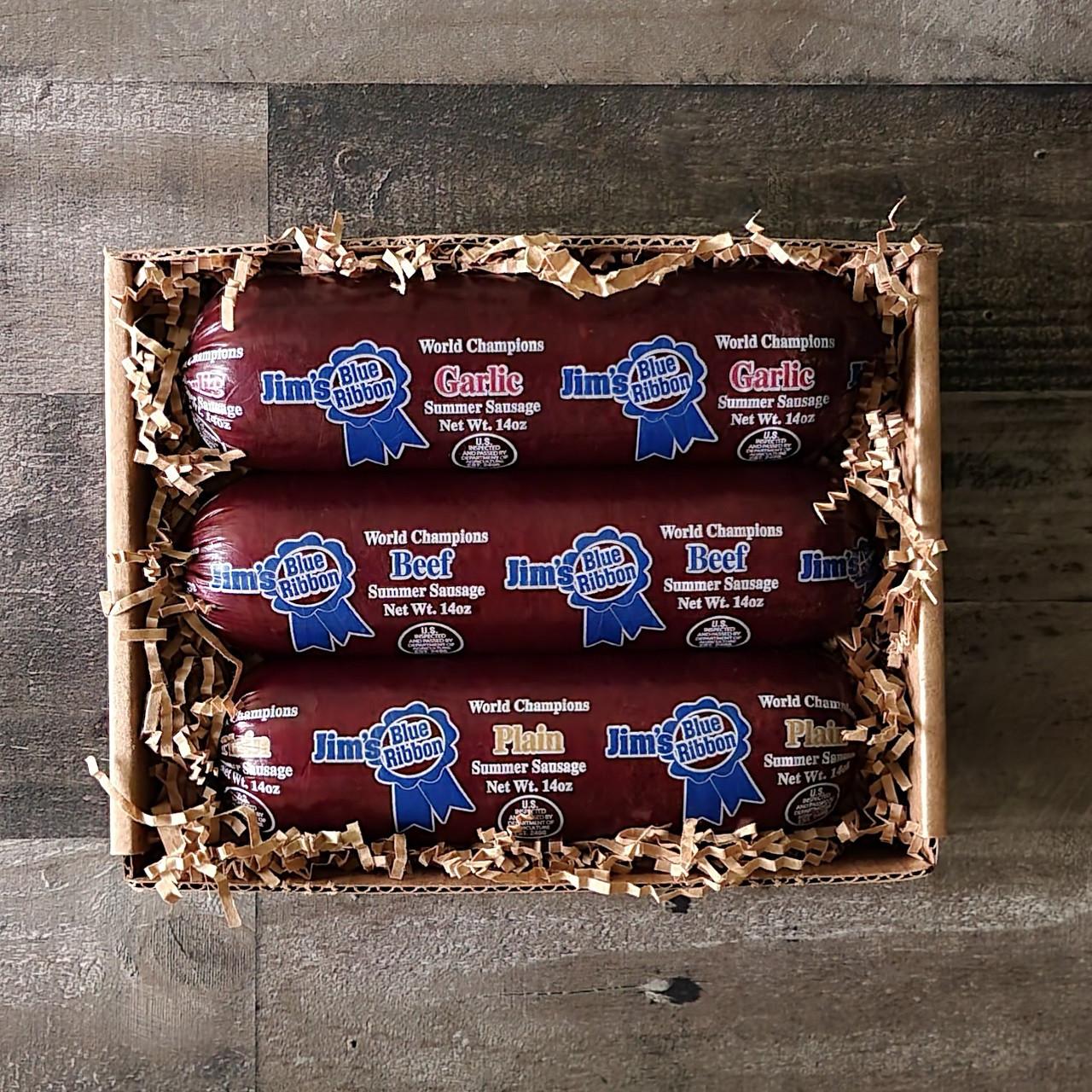 Jim's Blue Ribbon Summer Sausage Sampler Plain, Beef & Garlic all in a 14 oz size