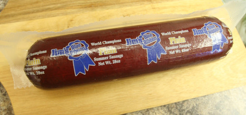 Award winning Jim's Blue Ribbon Plain Summer Sausage in 28 oz.