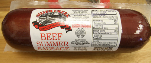 Silver Creek Beef Summer Sausage available in 8 oz, 12 oz, & 24 oz.