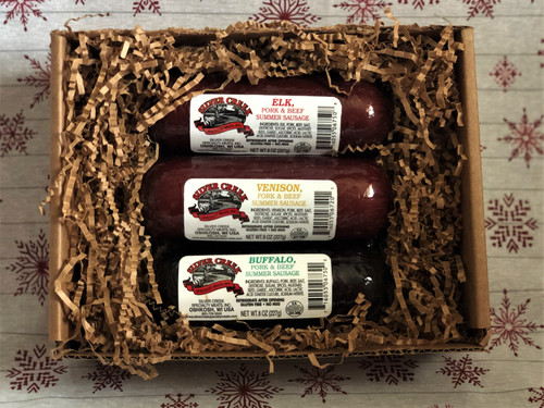 Silver Creek Wild Game Summer Sausage Sampler Elk, Venison & Buffalo all in an 8 oz size - perfect cracker toppers!