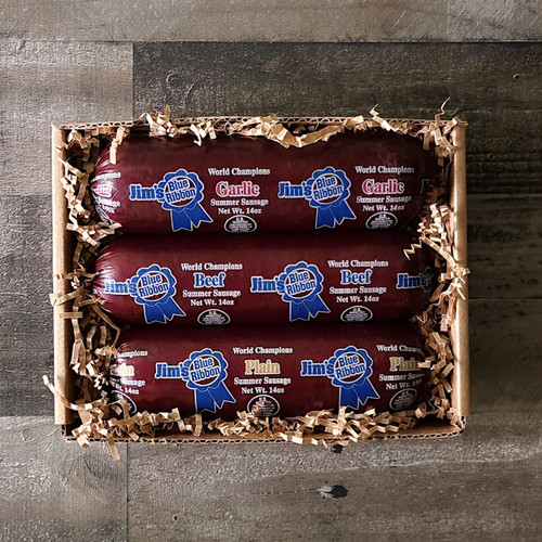Jim's Blue Ribbon Summer Sausage Sampler Plain, Beef & Garlic all in a 14 oz size