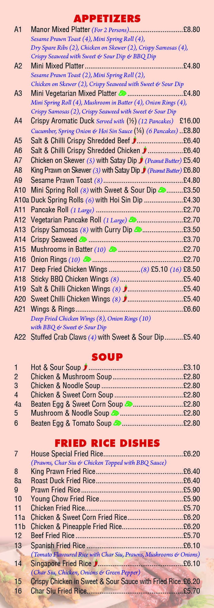 Chinese Menu for Manor Fish Bar Page 2