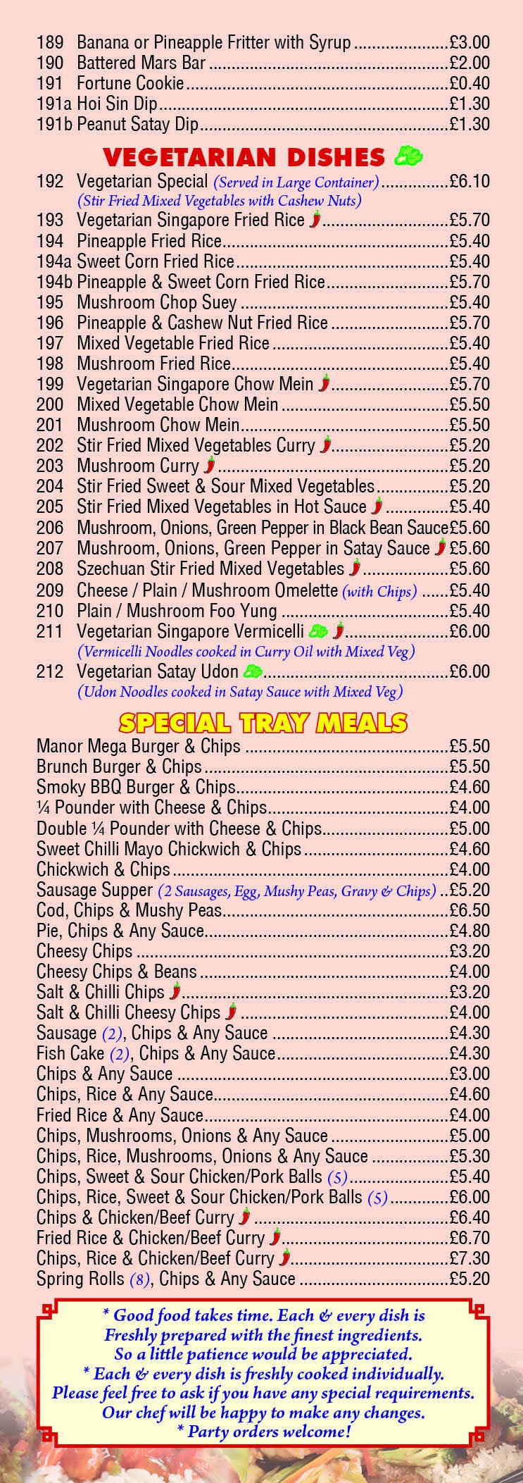 Chinese Menu for Manor Fish Bar Page 7