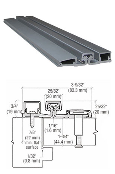 "Aluminum Geared Continuous Hinge For Narrow Frames 83"" Aluminum Finish"