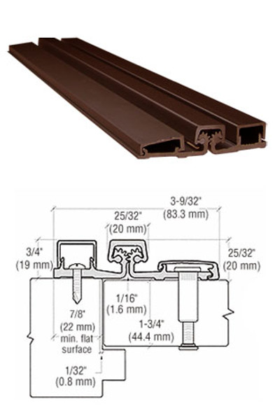 "Aluminum Geared Continuous Hinge For Narrow Frames 95"" Bronze Finish"