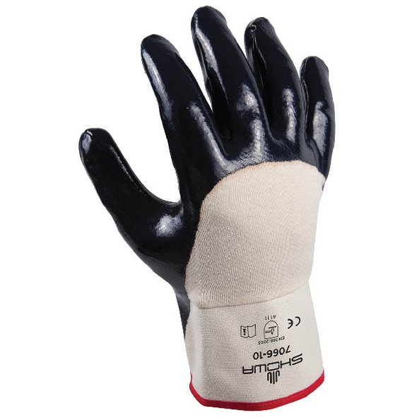 SHOWA Heavy Duty Nitrile Palm Coated Gloves W/Cotton Liner & Safety Cuff