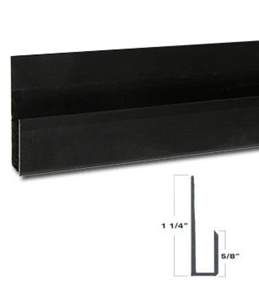 """Black Anodize Aluminum Deep J Channel for 1/4"""" Mirror Support 95"""" Long"""