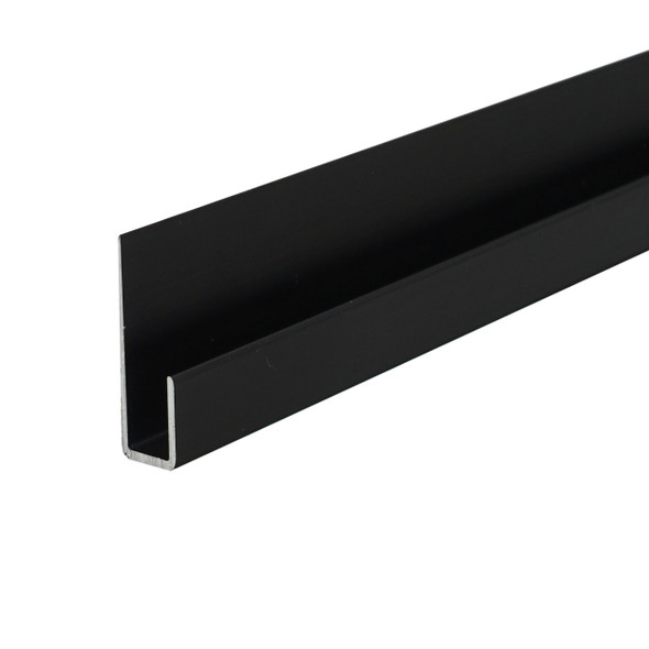 """Black Anodized Aluminum J Channel for 1/4"""" Mirror Support 47-7/8"""" Long"""