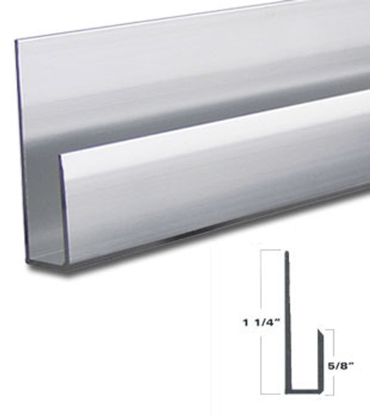 "Brite Anodize Aluminum Deep J Channel for 1/4"" Mirror Support 95"" Long"