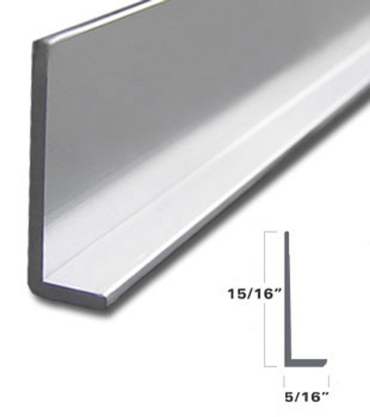 """Brite Anodized 5/16"""" x 15/16"""" L Angle for Mirror and Trim 95"""""""
