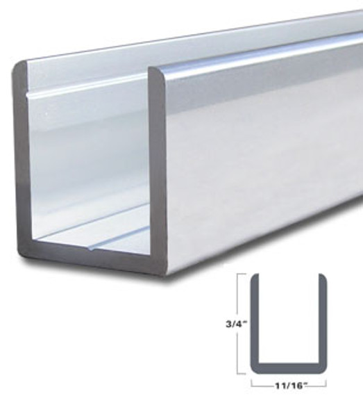 "Brite Anodized Aluminum Deep U-Channel for 1/2"" Glass 95"" Long"