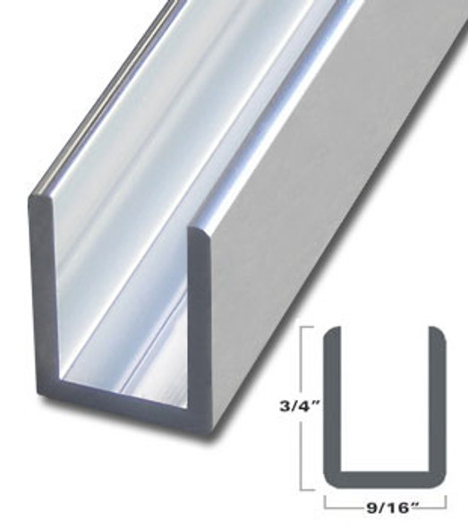 "Brite Anodized Aluminum Deep U-Channel for 3/8"" Glass 95"" Long"