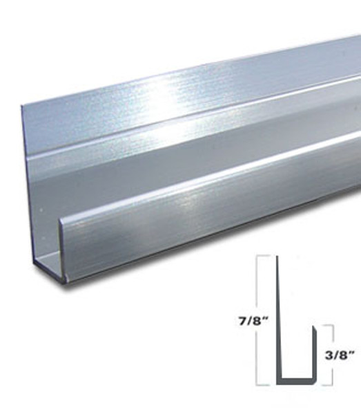 "Brite Anodized Aluminum J Channel for 1/4"" Mirror Support 95"" Long"