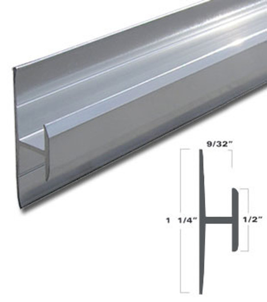"""Brite Anodized Aluminum Mirror Mounting Division Bar 95"""" Long"""