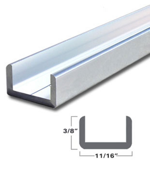 "Brite Anodized Aluminum Shallow U-Channel for 1/2"" Glass 95"" Long"
