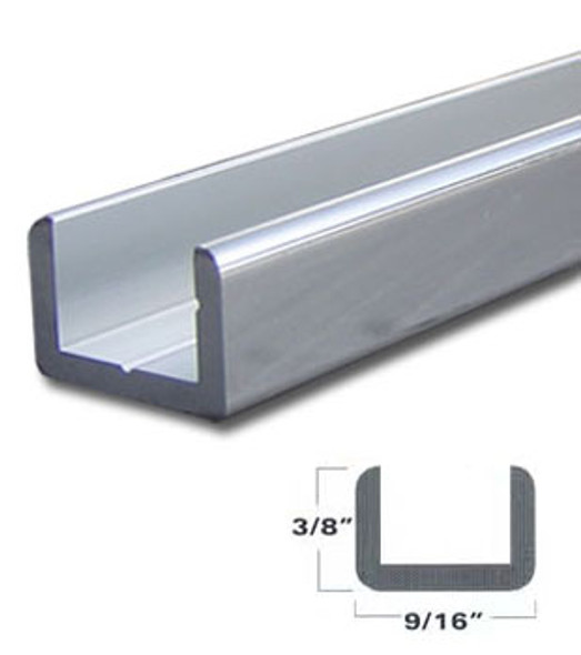 "Brite Anodized Aluminum Shallow U-Channel for 3/8"" Glass 95"" Long"