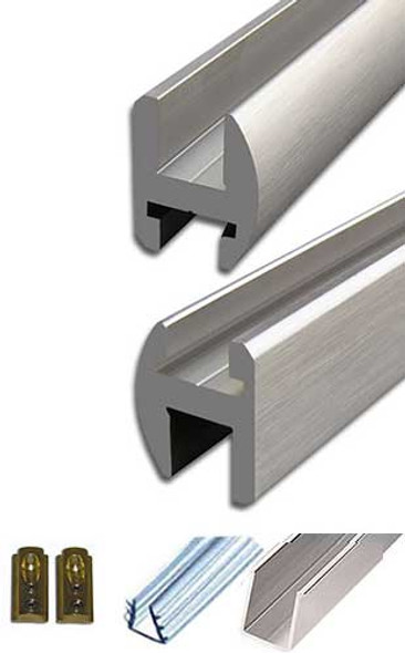 "Brushed Nickel Aluminum 95"" Frameless Shower Door Header Kit"