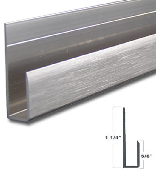 """Brushed Nickel Aluminum Deep J Channel for 1/4"""" Mirror Support 47-7/8"""""""