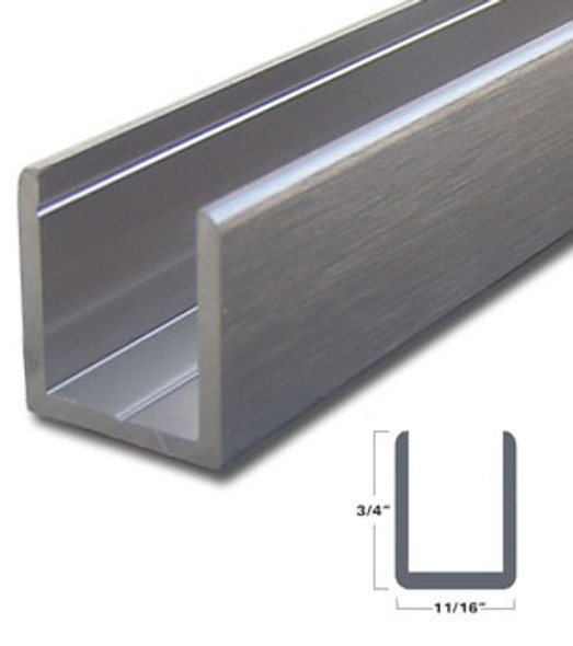 "Brushed Nickel Aluminum Deep U-Channel for 1/2"" Glass 47-7/8"" Long"