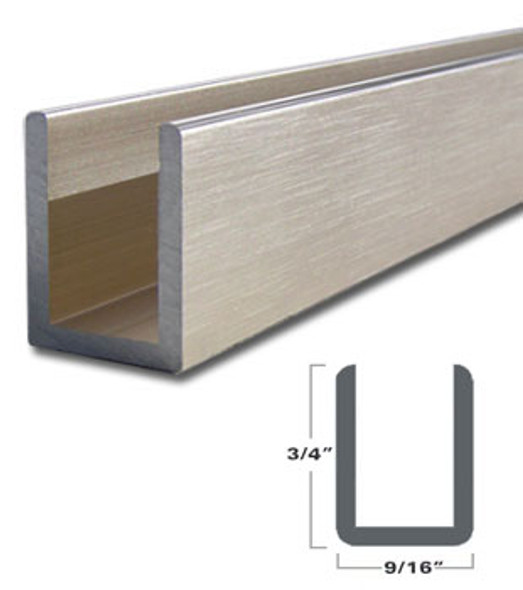 "Brushed Nickel Aluminum Deep U-Channel for 3/8"" Glass 95"" Long"