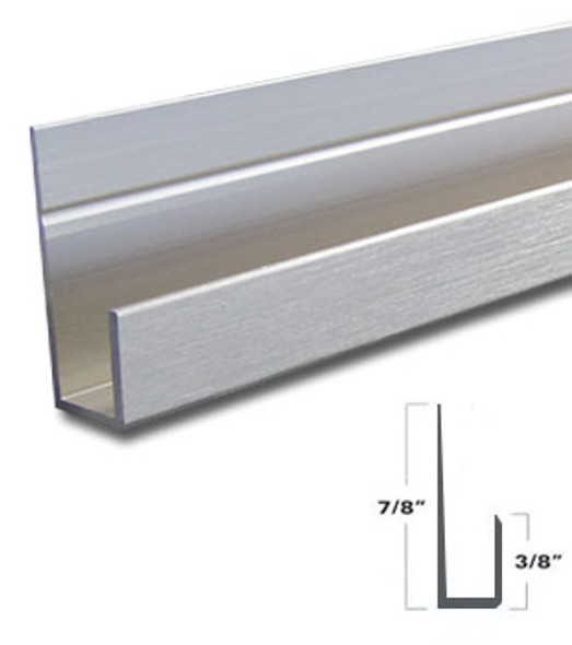"""Brushed Nickel Aluminum J Channel for 1/4"""" Mirror Support 95"""" Long"""