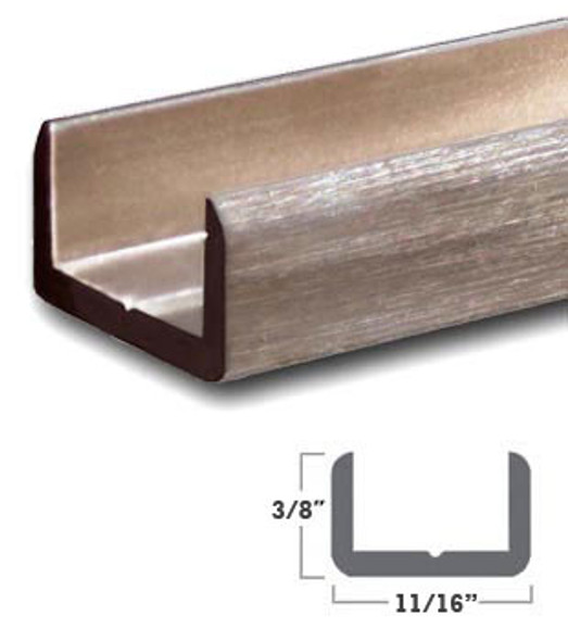 """Brushed Nickel Aluminum Shallow U-Channel for 1/2"""" Glass 95"""" Long"""