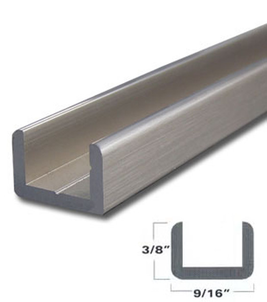 "Brushed Nickel Aluminum Shallow U-Channel for 3/8"" Glass 95"" Long"