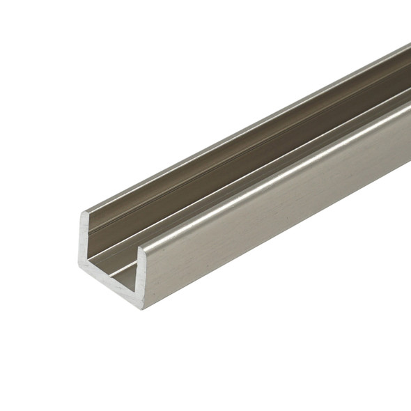 """Brushed Nickel Aluminum Shallow U-Channel for 3/8"""" Glass 95"""" Long"""