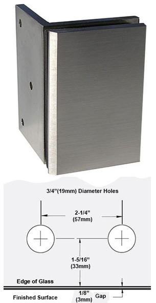Brushed Nickel American Classic 90 Degree Glass to Wall Shower Glass Bracket