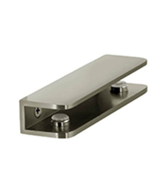 "Brushed Nickel Rectangular Shelf Clamp for 5/16"" to 3/8"" Glass"