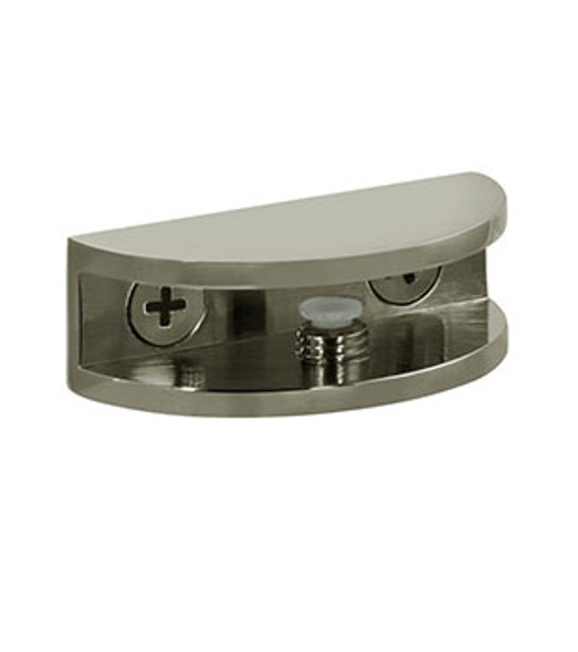 "Brushed Nickel Rounded Interior Shelf Clamp for 5/16"" to 3/8"" Glass"